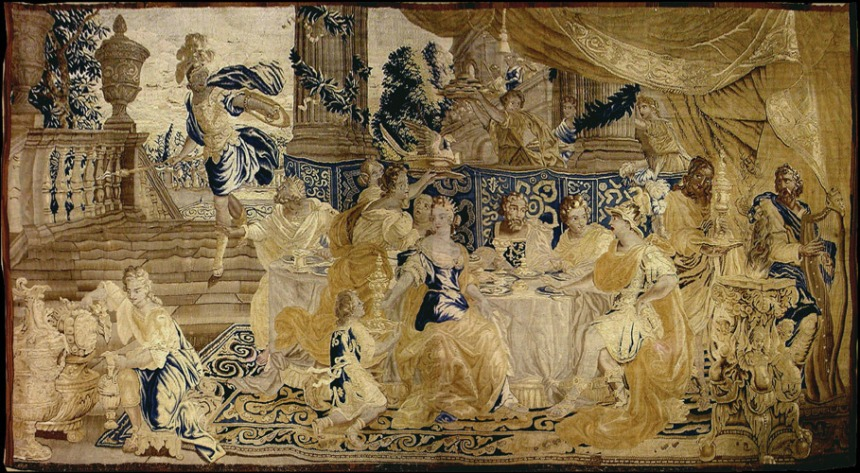 Antique French Tapestry 171 Public Scene